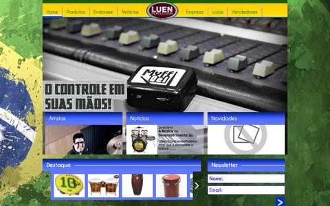 Screenshot of Home Page luen.com.br - Luen Percussion - captured Oct. 1, 2014