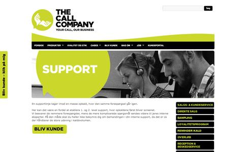 Screenshot of Support Page thecallcompany.dk - SUPPORT : The Call Company A/S - captured Oct. 26, 2014