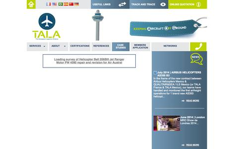 Screenshot of Case Studies Page tala.aero - Case Studie - TALA - captured Oct. 9, 2014