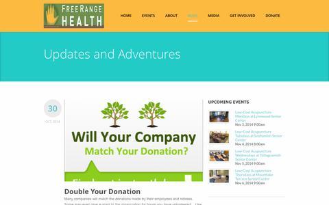 Screenshot of Blog freerangehealth.org - Free Range Health Updates and Adventures - Free Range Health - captured Nov. 3, 2014