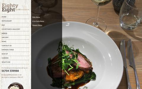 Screenshot of Menu Page 88lordstreet.co.uk - Menu  - Eighty Eight Bar & Brasserie - captured Oct. 3, 2014