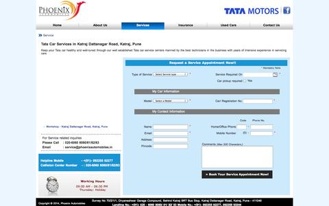 Screenshot of Services Page phoenixautomobiles.in - Tata Car Service in Pune | Tata Authorised Service Centre in Pune | Tata Car Repair in Pune | Phoenix Automobiles - captured Sept. 29, 2014