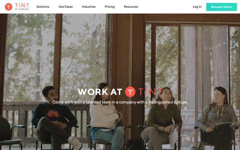 Screenshot of Jobs Page tintup.com - TINT: Social Media Aggregator | Content Curation Platform - captured Jan. 10, 2019