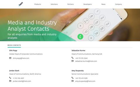 Screenshot of Press Page here.com - Media and Industry Analyst Contacts - captured June 4, 2019