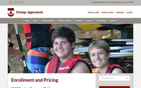 Screenshot of Pricing Page campagawam.org - Enrollment and Pricing - captured Oct. 21, 2016