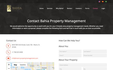 Screenshot of Contact Page miami-propertymanagement.com - Contact Bahia Property Management - captured Oct. 31, 2018