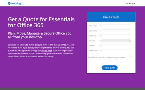 Screenshot of Landing Page metalogix.com - Essentials for Office 365 Quote - captured April 5, 2017
