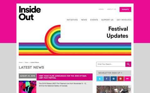 Screenshot of Press Page insideout.ca - Inside Out | LGBT Film Festival - captured Sept. 19, 2018