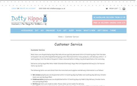 Screenshot of Support Page dottyhippo.co.uk - Customer Service - captured Oct. 9, 2018