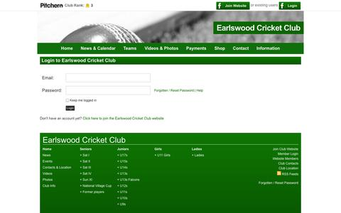Screenshot of Login Page earlswoodcc.co.uk - Login - Earlswood Cricket Club - captured Oct. 1, 2014