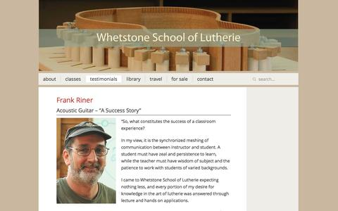 Screenshot of Testimonials Page whetstoneschooloflutherie.com - Testimonials Archives - Whetstone School of Lutherie - captured Jan. 10, 2016
