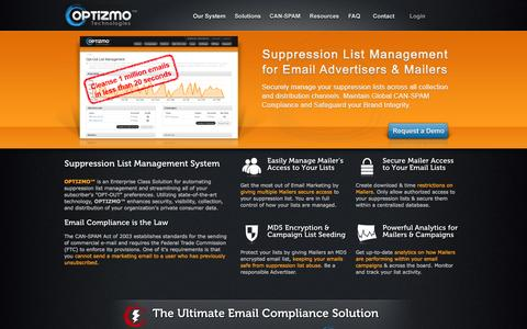 Screenshot of Home Page optizmo.net - Optizmo - Suppression List Management for Opt-Out Email Compliance - captured Sept. 23, 2014