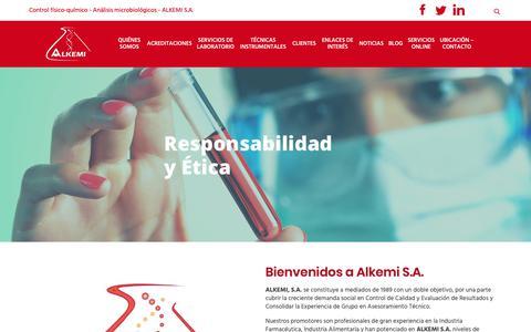 Screenshot of Home Page alkemi.es - Control físico-químico - Análisis microbiológicos -ALKEMI S.A. - captured Oct. 2, 2018