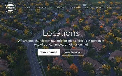 Screenshot of Locations Page rivervalley.org - Locations | River Valley Church - captured Sept. 22, 2018