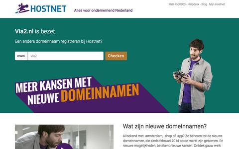 Screenshot of Home Page via2.nl - Hostnet: De grootste domeinnaam- en hostingprovider van Nederland. - captured Jan. 12, 2016