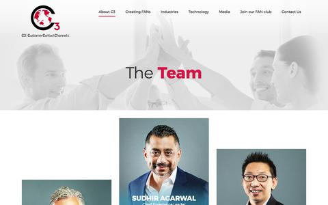 Screenshot of Team Page c3connect.com - The Team - Meet Our C3 Customer Contact Channels Leaders - captured Sept. 25, 2018
