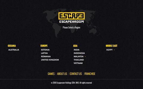 Screenshot of Home Page escaperoom.com - Home - Escaperoom Holdings SDN. BHD. - captured April 29, 2016