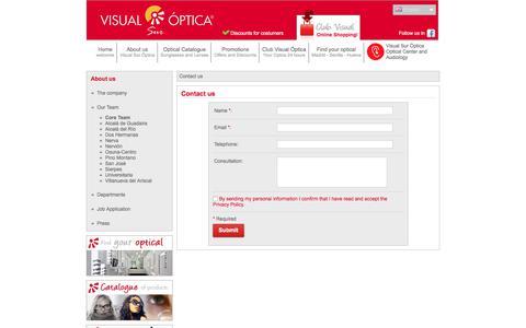 Screenshot of Contact Page visualoptica.es - Visual Sur Optica | Optica Online - Opticas en Madrid Sevilla Huelva - captured Oct. 21, 2017