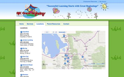 Screenshot of Locations Page abcgreatbeginnings.com - ABC Great Beginnings - captured Sept. 30, 2014