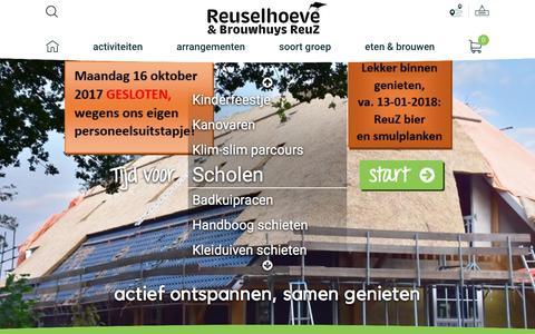 Screenshot of Home Page reuselhoeve.nl - De Reuselhoeve | Originele Activiteiten en Uitjes in Brabant - De Reuselhoeve - captured Oct. 16, 2017