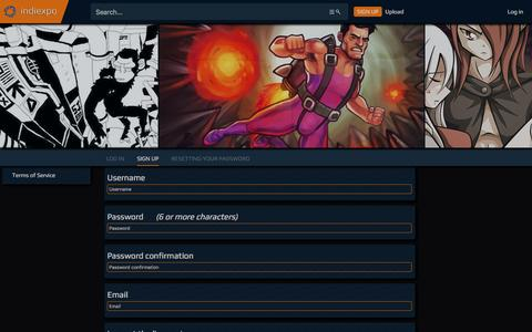 Screenshot of Signup Page indiexpo.net - Free to Play - Indiexpo - captured Feb. 28, 2017