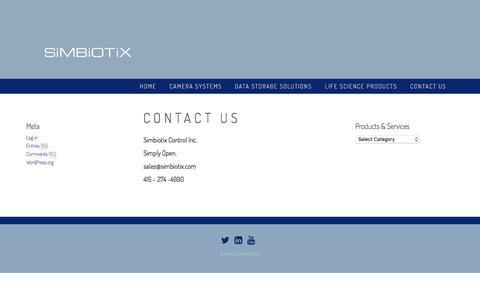 Screenshot of Contact Page simbiotix.com - Contact Us – SImbiotix Control Inc. - captured Dec. 19, 2016