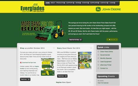 Screenshot of Home Page evergladesfarmequipment.com - Everglades Farm Equipment - Home - captured Oct. 3, 2014