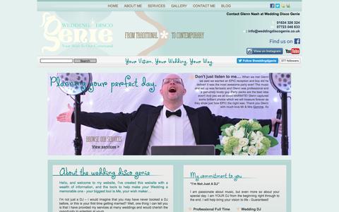 Screenshot of About Page weddingdiscogenie.co.uk - Wedding Disco Genie :: Glenn Nash - captured Dec. 14, 2016