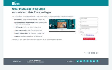 Screenshot of Landing Page esker.com - Prezi: Order Processing in the Cloud   Esker - captured Sept. 23, 2017