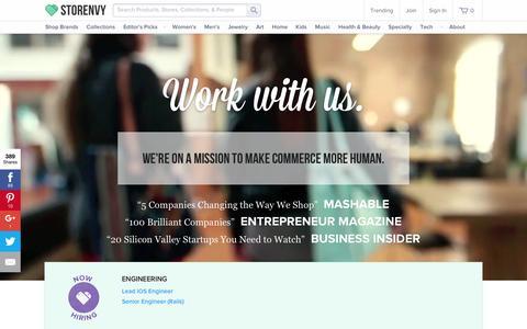 Screenshot of Jobs Page storenvy.com - Work at Storenvy - captured Feb. 10, 2016