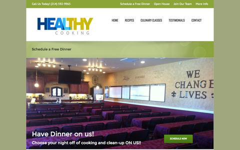 Screenshot of Signup Page healthycookingoftexas.com - Schedule a Free Dinner - Healthy Cooking - captured Oct. 9, 2014