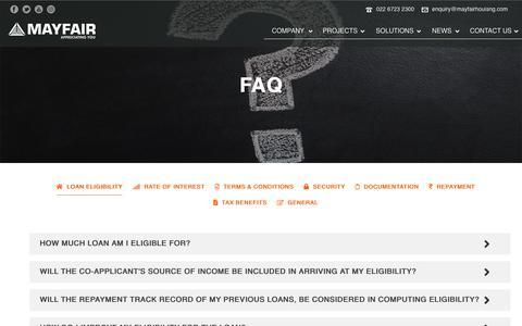 Screenshot of FAQ Page mayfairhousing.com - FAQ – Mayfair - captured Feb. 17, 2020