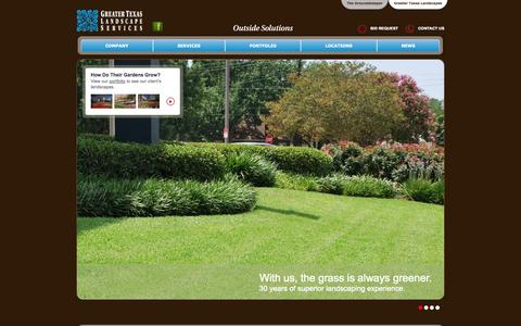 Screenshot of Home Page Services Page gtlandscapes.com - Home » Greater Texas Landscapes - captured Oct. 3, 2014