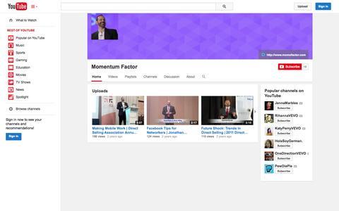 Screenshot of YouTube Page youtube.com - Momentum Factor  - YouTube - captured Nov. 3, 2014