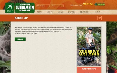 Screenshot of Signup Page cws.org.au - sign up | Currumbin Wildlife Sanctuary - captured Feb. 1, 2016