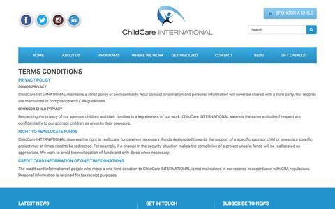 Screenshot of Terms Page childcareinternational.ca - Terms Conditions | ChildCare INTERNATIONAL – Child Sponsorship Organization - captured Jan. 27, 2016