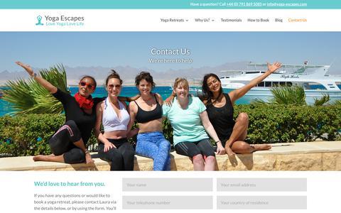 Screenshot of Contact Page yoga-escapes.com - Contact Us | Yoga Escapes - captured Oct. 20, 2018