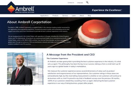 Screenshot of About Page ambrell.com - About Ambrell - captured Dec. 26, 2016