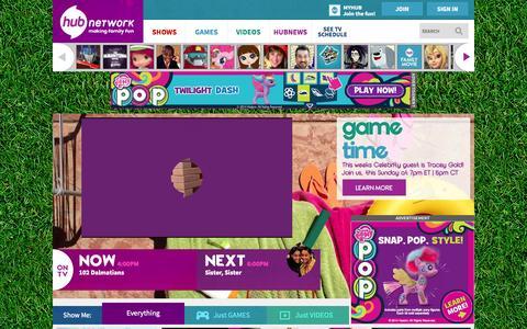 Screenshot of Home Page Menu Page hubnetwork.com - Hub Network | Kids TV Shows & Cartoons | Free Videos & Games Online - captured Sept. 19, 2014
