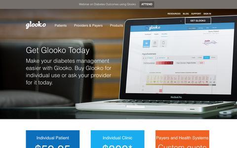Screenshot of Pricing Page glooko.com - Pricing - Glooko | Type 1 & 2 Diabetes Remote Monitoring Software | Population Management , Glooko | Type 1 & 2 Diabetes Remote Monitoring Software | Population Management - captured Dec. 4, 2015