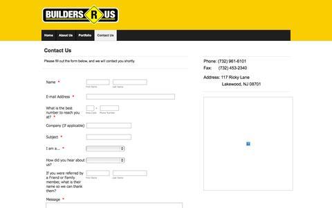 Screenshot of Contact Page buildersrusnj.com - Builders R Us | Contact Us - captured Oct. 5, 2014