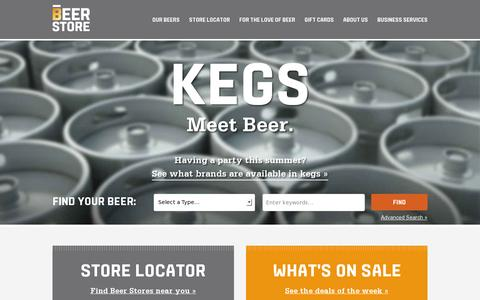 Screenshot of Home Page thebeerstore.ca - Home | The Beer Store - captured July 11, 2014