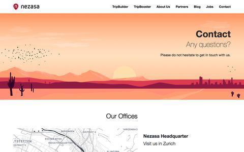 Screenshot of Contact Page nezasa.com - Contact - Nezasa AG - captured Aug. 28, 2019