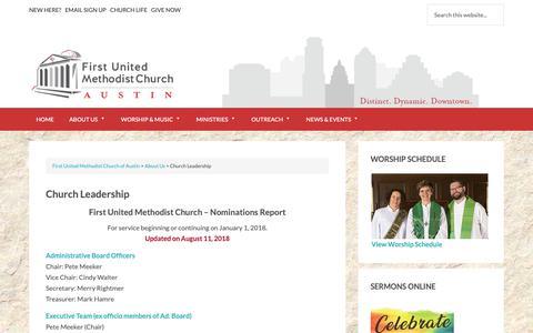 Screenshot of Team Page fumcaustin.org - Church Leadership - captured Oct. 10, 2018