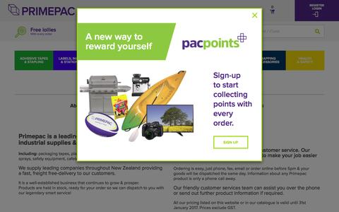 Screenshot of About Page primepac.co.nz - About Primepac | Providers of Industrial Supplies & Packaging - captured Jan. 7, 2017