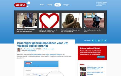 Screenshot of Blog viadesk.nl - Viadesk Blog | Artikelen en interviews - captured Oct. 7, 2014