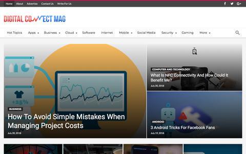 Screenshot of Home Page digitalconnectmag.com - Digital Connect Mag - Tech, Biz and IT - captured July 21, 2018