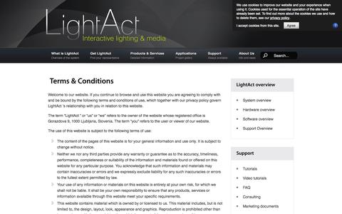 Screenshot of Terms Page lightact-systems.com - Terms & Conditions - captured Oct. 3, 2014