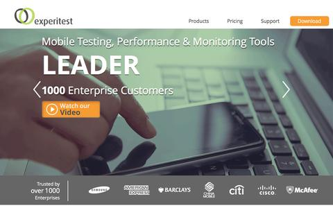 Screenshot of Home Page experitest.com - SeeTest Mobile Testing & Monitoring Tools | Experitest - captured Dec. 14, 2015