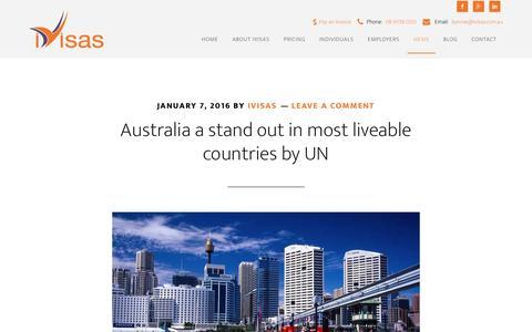 Screenshot of Press Page ivisas.com.au - Australian Immigration News Stories - iVisas Perth, WA - captured Jan. 9, 2016